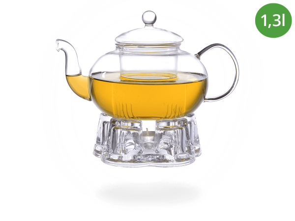Teeservice Melina: Glaskanne 1,3 Liter + Glas-Stövchen