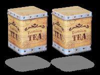 """Teedosen """"Tea Chest"""" eckig aus Metall für losen Tee, 2 Stk"""