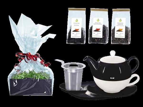 Tee Geschenk Tea for One Lena schwarz/weiß mit Sieb und Ablageteller