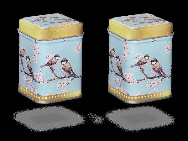 """Teedosen """"Oriental Garden"""" eckig aus Metall für losen Tee, 2 Stk"""