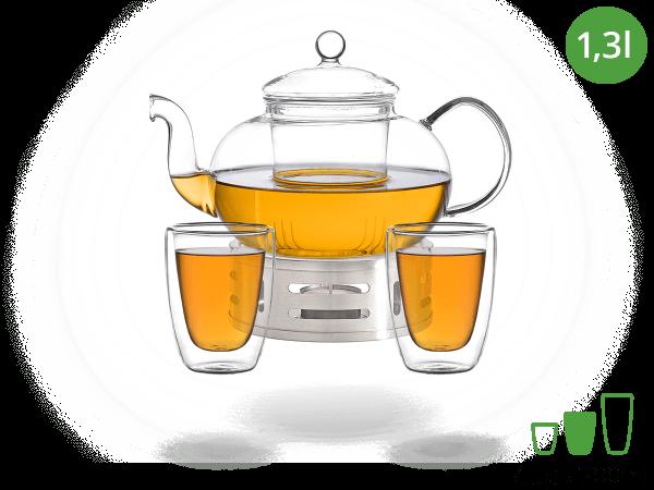 Teeservice Melina: Glaskanne 1,3 Liter + 2 Glasbecher 200ml + Edelstahl-Stövchen