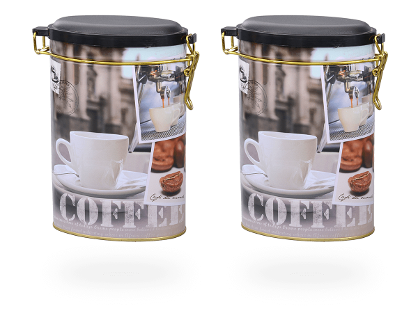 "Teedosen, Kaffeedosen ""Friendly Coffee"" oval 1,5l Aromaverschluss, 2 Stk"