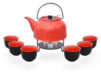Nelly Teeservice Keramik 1,5l rot schwarz mit Stövchen