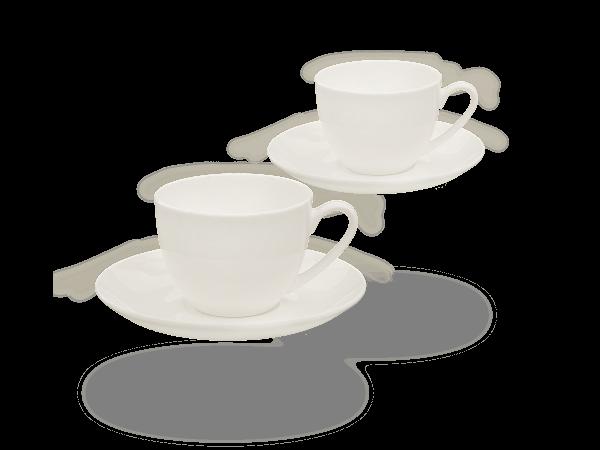 Buchensee Kaffeetassen weiß, Fine Bone China Porzellan