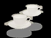 Buchensee Kaffeetassen weiß, Fine Bone China Porzellan 2 Sets