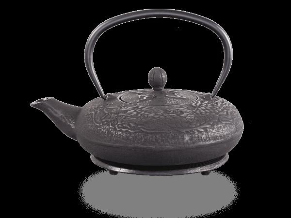 Teekanne Gusseisen Katsu 0,6l schwarz Drache mit Sieb