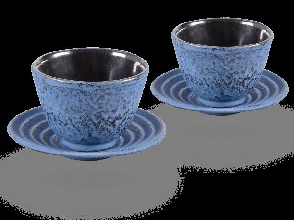 2 Gusseisen-Teecups Hako je 100ml und 2 Gusseisen-Untersetzer rund in japanblau