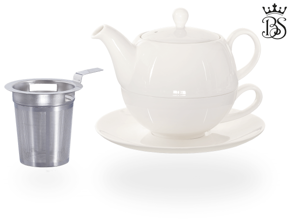 Tea for one, Lena 500 ml, Crystal Bone China, weiß, Sieb