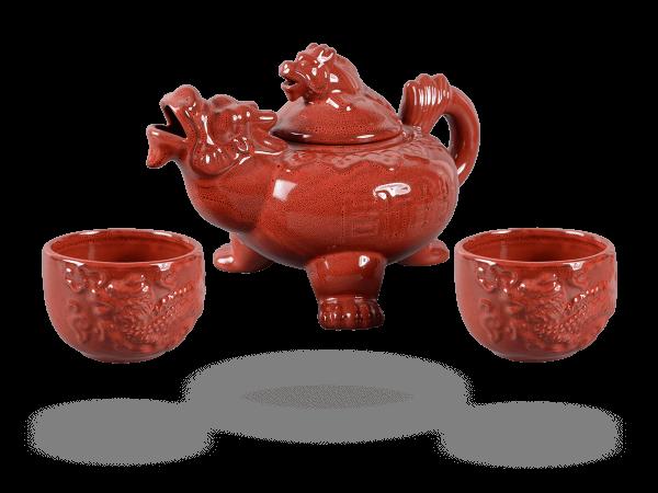Teeservice Drachen 3tlg. rot Porzellan 800ml