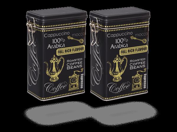 """Teedose vintage mit Aromaverschluss """"Black Coffee Gold"""" eckig, 500g, 2 Stk"""
