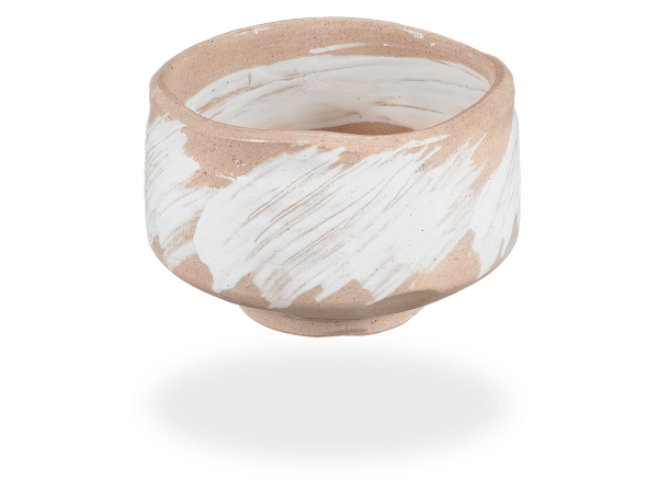 Matcha Schale handgefertigt Pinsel beige-weiß 500ml, original Japan