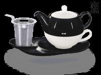Tea for one, Lena 500 ml, Crystal Bone China, schwarz-schwarz, Ablageteller, Sieb