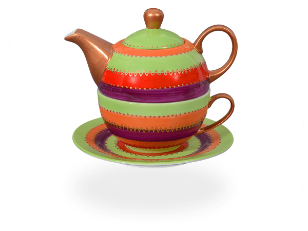 Tea for one, Modern Art Line Dora 400 ml, rot-grün