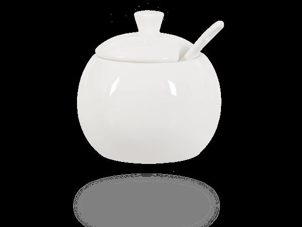 Buchensee Zuckerdose mit Löffel, Porzellan weiß Fine Bone China