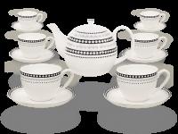 Buchensee Fine Bone China Kaffeeservice: Kaffeekanne 1,5 Liter + 6 Kaffeetassen + 6 Unterteller