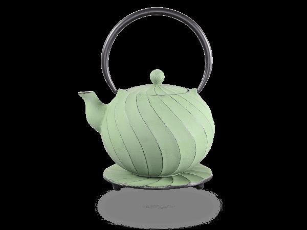 Teekanne Gusseisen Bara 1,0l hellgrün mit Sieb