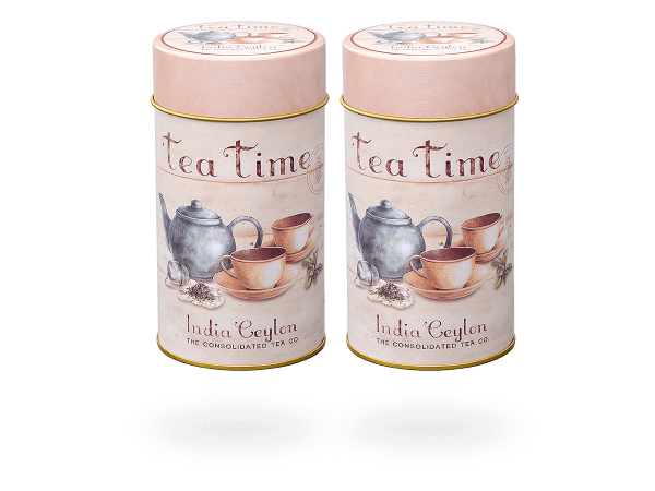 """Teedosen """"Tea Time"""" rund aus Metall für losen Tee 100g, Stülpdeckel, 2 Stk"""
