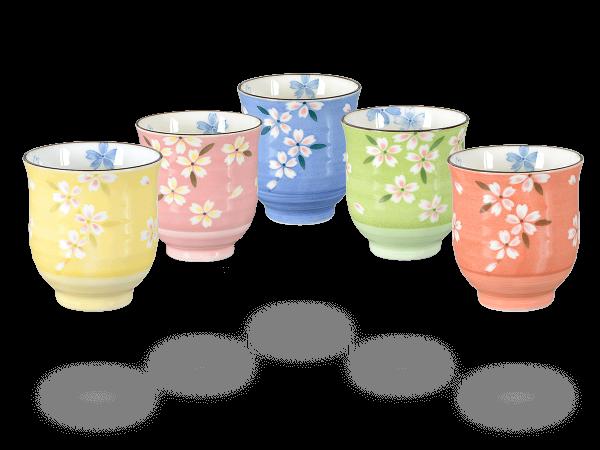 Japanische Teetassen, 5 Stk vollfärbig Blumendesign