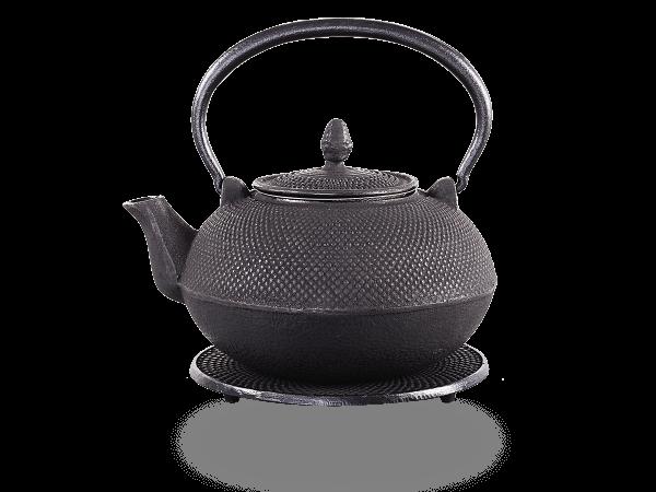 Teekanne Gusseisen Arare schwarz mit Sieb