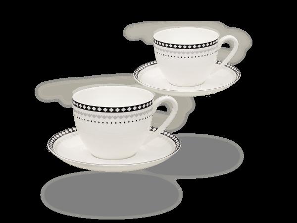 Buchensee Kaffeetassen Rautendeko, Fine Bone China Porzellan