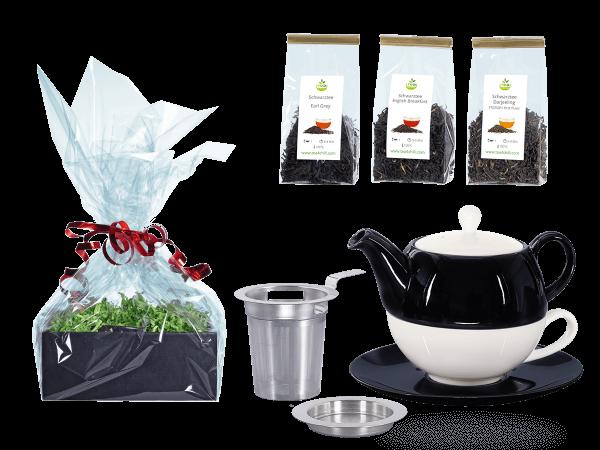 Tee Geschenk Tea for One Lena schwarz/weiß mit Sieb Rundteller