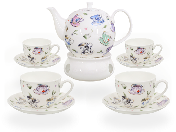 Buchensee Fine Bone China Kaffeeservice: Kaffeekanne 1,5 Liter + 4 Kaffeetassen + 4 Unterteller + Stövchen