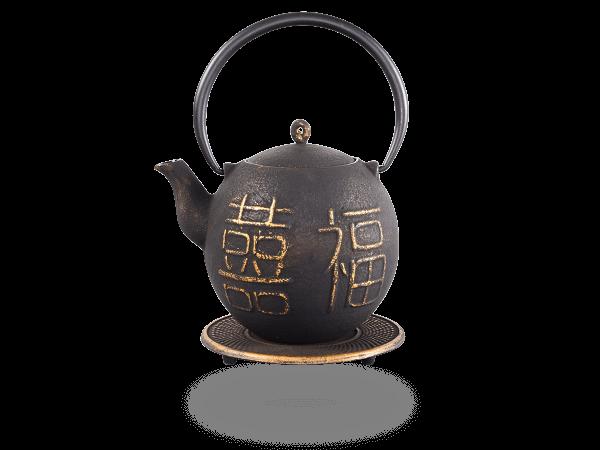 Teekanne Gusseisen Kimiko 0,8l schwarz-gold mit Sieb