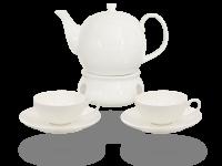 Buchensee Fine Bone China Teeservice: Teekanne 1,5 Liter + 2 Teetassen + 2 Unterteller + Stövchen