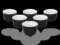 Teecups Nelly 120ml. Teebecher-Set Keramik weiß-schwarz 6 Stück