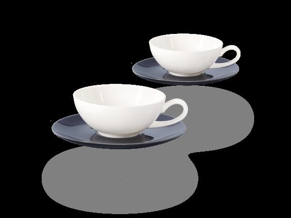 Buchensee Teetassen Set Lena schwarz-weiß, Crystal Bone China Porzellan