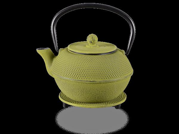 Teekanne Gusseisen new Arare 1,2l moosgrün mit Sieb