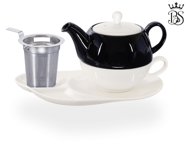 Tea for one, Lena 500 ml, Crystal Bone China, schwarz, Komfortteller, Sieb