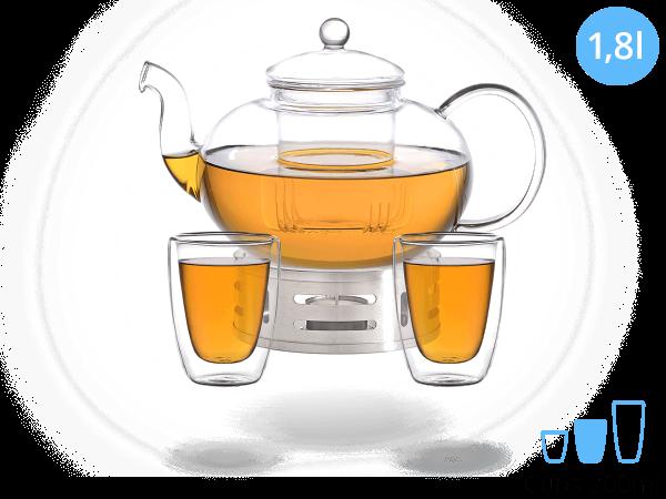 Teeservice Melina: Glaskanne 1,8 Liter + 2 Glasbecher 200ml + Edelstahl-Stövchen