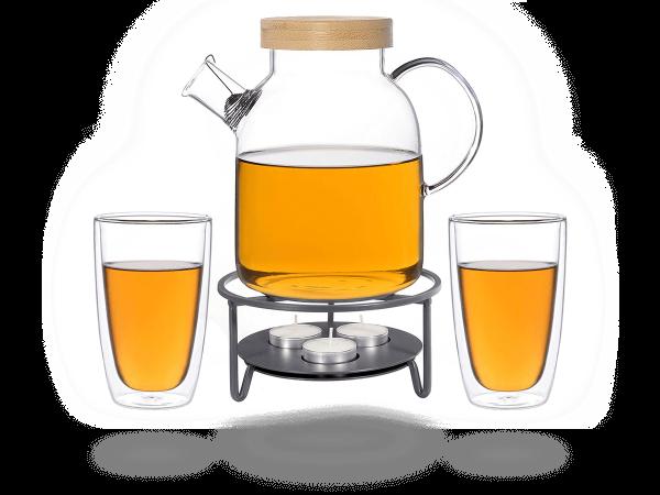 Kira Teeservice Glas 1,6l, Stövchen aus Metall für 3 Kerzen, 2 doppelwandige Gläser