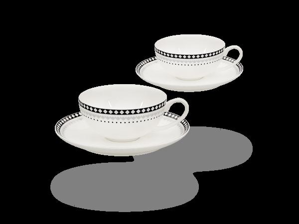 Buchensee Teetassen Set Rautendeko, Fine Bone China Porzellan