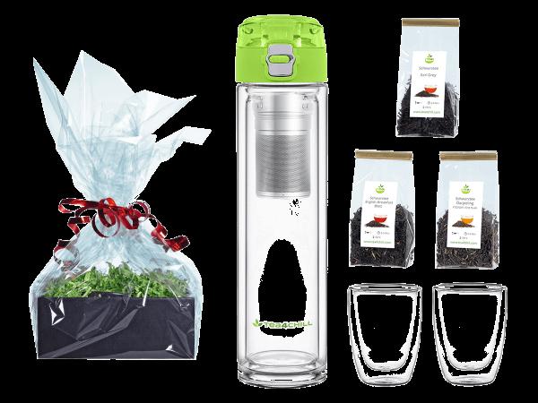 Tee Geschenk doppelwandige Teeflasche grün 400ml mit 2 Teecups