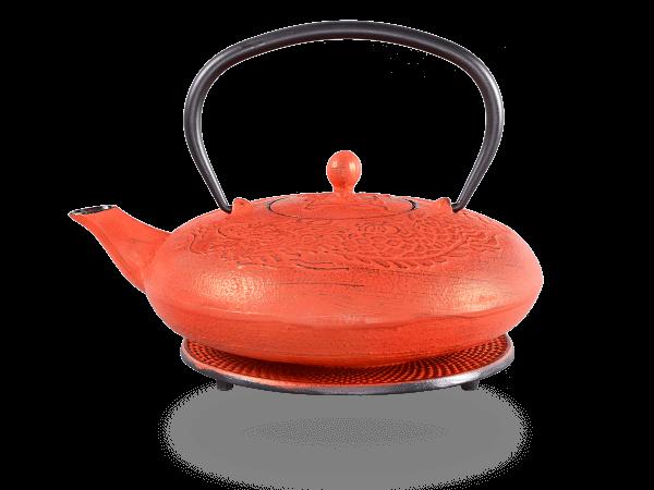 Teekanne Gusseisen Katsu rot Drache mit Sieb