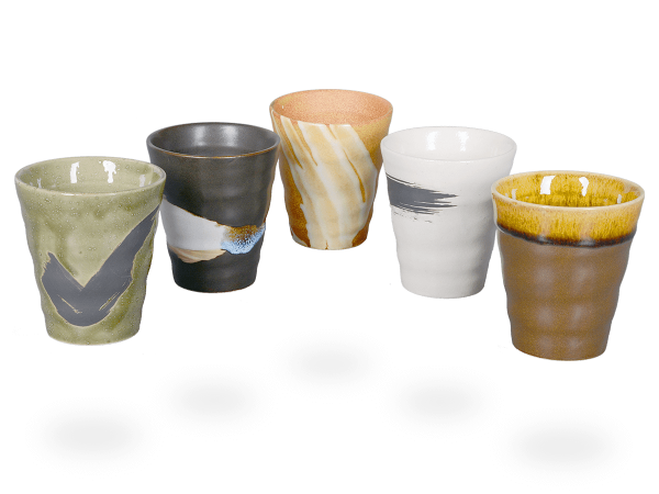 Japanische Teetassen, 5 Stk, konisch