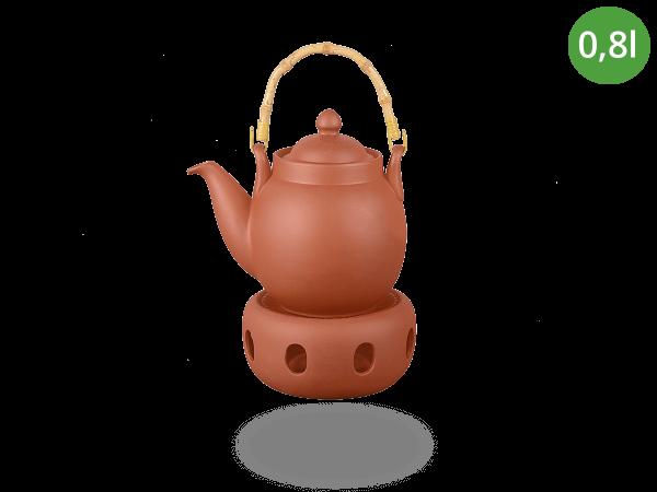 Tenno Teekanne mit Stövchen aus Ton 0,8l
