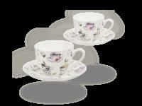 Buchensee Kaffeetassen Tassendeko, Fine Bone China Porzellan 2 Sets