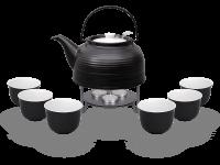Nelly Teeservice Keramik 1,5l schwarz mit Stövchen