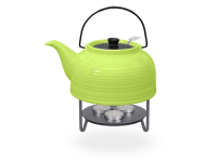 Nelly Teekanne mit Stövchen Keramik 1,5l grün schwarz