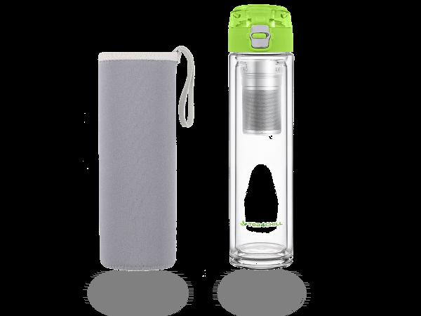Teeflasche mit Sieb to go, doppelwandiges Glas, grün