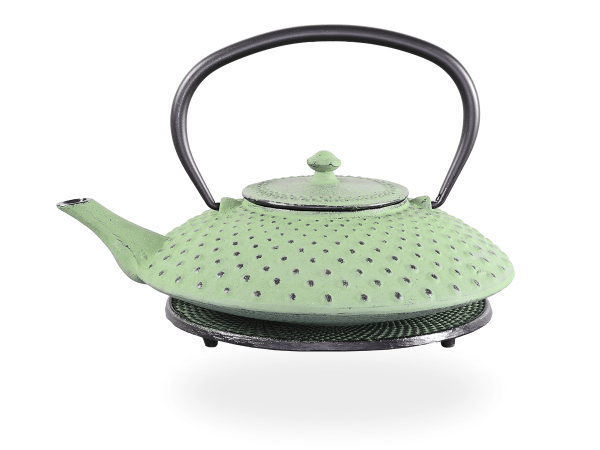 Teekanne Gusseisen Aneko hellgrün mit Sieb