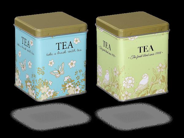 """Teedosen """"Blooming"""" eckig aus Metall für losen Tee, 2 Stk"""
