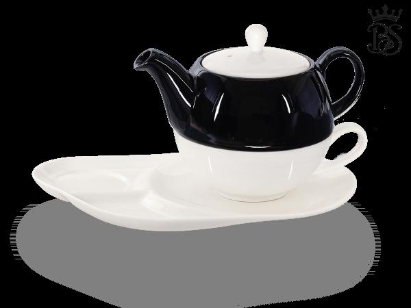 Tea for one, Lena 500 ml, Crystal Bone China, schwarz, Komfortteller
