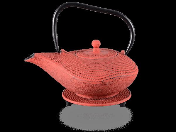 Teekanne Gusseisen Arare swing 1,0l kirschrot mit Sieb