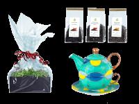 Tee Geschenk Tea for One, handbemalt, smaragdgrün