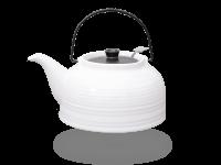 Nelly Teekanne Keramik 1,5l mit Sieb weiß schwarz