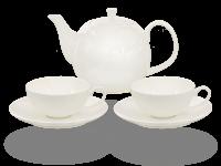 Buchensee Fine Bone China Teeservice: Teekanne 1,5 Liter + 2 Teetassen + 2 Unterteller